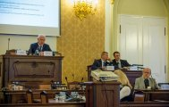 President of the Czech Academy of Sciences Prof. Drahoš (left) and Dr. Breiter (right) during the opening of the workshop in the Parliament (photo Pavel Lisý).
